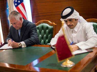 US Secretary of State Rex Tillerson and the Qatari Minister of Foreign Affairs Sheikh Mohammed bin Abdulrahman Al Thani. AP