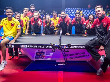 The semi-final winning team of Falcons TTC. Image courtesy: Twitter/@ulttabletennis