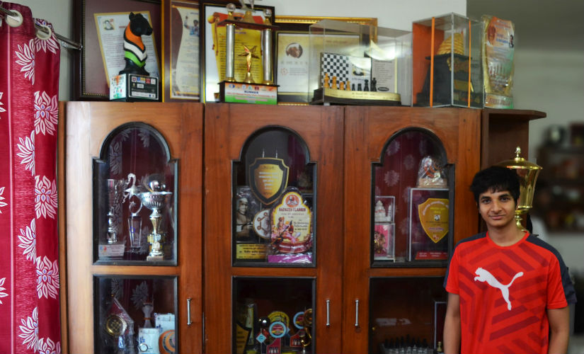 Vidit's massive trophy collection! Image courtesy Gaurav Gawand/ChessBase India