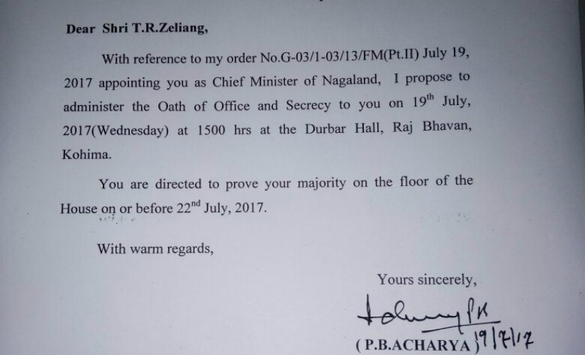 File image of the letter issued to TR Zeliang by Governor PB Acharya.