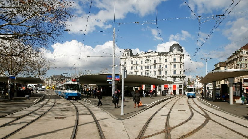 A general view shows the tram junction at Bellevue square in Zurich, Switzerland. Reuters Image