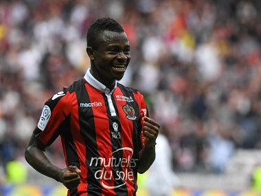 Nice's Ivorian midfielder Jean Michael Seri celebrates after scoring a goal during the French L1 Football match between OGC Nice and AS Nancy Lorraine at the Allianz Riviera Stadium, in Nice, on April 15, 2017. / AFP PHOTO / Yann COATSALIOU