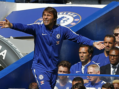 Chelsea coach Antonio Conte gestures on the touchline during their English Premier League match against Burnley. AFP