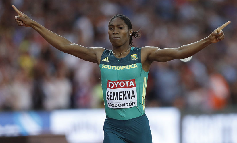 Caster Semenya celebrates after winning the final of the women's 800 metres event. AFP