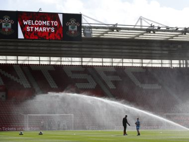 "(FILES) This file photo taken on April 01, 2017 shows the sprinklers watering the pitch ahead of the English Premier League football match between Southampton and Bournemouth at St Mary's Stadium in Southampton, southern England. English Premier League side Southampton have entered into a partnership with Chinese businessman Gao Jisheng, the south coast club's current owner Katharina Liebherr announced on August 14, 2017. ""Following extensive and fruitful work, we are entering into a partnership with the Gao family and I am excited about what we will achieve together,"" said Liebherr in an open letter to Saints supporters on the club's website. / AFP PHOTO / Adrian DENNIS / RESTRICTED TO EDITORIAL USE. No use with unauthorized audio, video, data, fixture lists, club/league logos or 'live' services. Online in-match use limited to 75 images, no video emulation. No use in betting, games or single club/league/player publications. /"