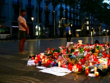Spaniards honour victims of the Barcelona terror attack on Saturday. AP