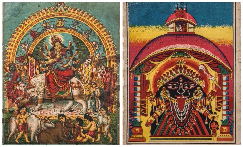 (L) 1. Dev Gostho (Devi Durga with baby Krishna)_Lithoprint in paper (Kansaripara Art Studio)_14.75 x 11.25 inch_C.1900; (R) 2. Kalighater Kali(Kali of Kalighat Temple)_Lithoprint in paper (Kansaripara Art Studio)_8x6in_C.1900