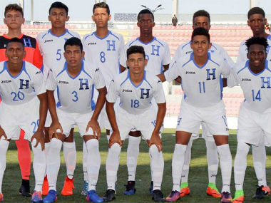 Honduras U-17 team pose before their CONCACAF qualifier against USA U-17. Credit: US Soccer