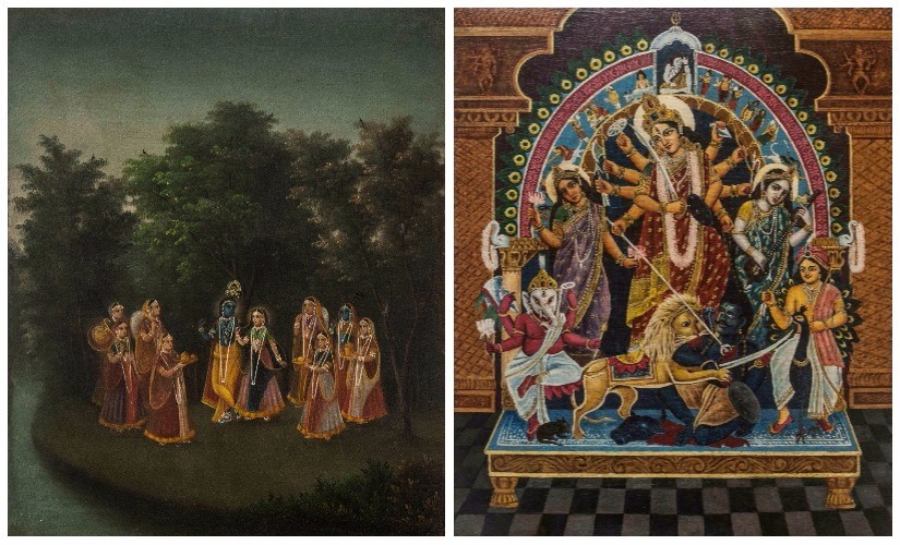 3. Nikunja Bihar_oil on canvas_16.5 x 13.25in_C.1880; (R) Sri Durga_oil on canvas_35 x 29.75 in_C.1930