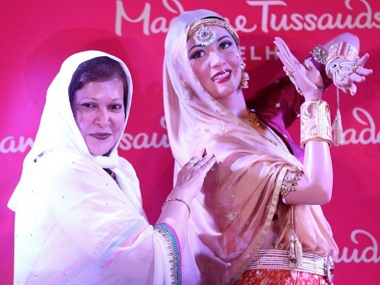 Madhur Brij stands by the wax statue of her sister and late actress Madhubala at the . Image from News 18