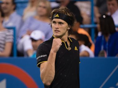 Alexander Zverev celebrates winning a point against Kei Nishikori. Image courtesy: Twitter/@CitiOpen
