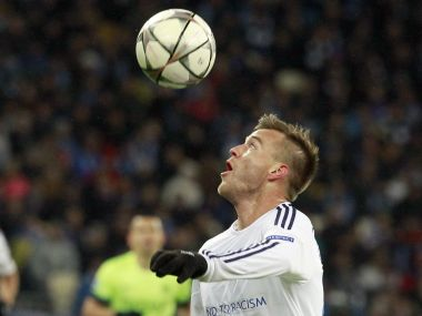 FILE - In this Feb. 24, 2016 file photo, Kiev's Andriy Yarmolenko eyes the ball during the Champions League round of 16 first leg soccer match between Dynamo Kiev and Manchester City at the Olympiyskiy stadium in Kiev, Ukraine. Borussia Dortmund has signed Ukraine forward Andrey Yarmolenko from Dynamo Kiev following the departure of Ousmane Dembele for Barcelona. The German Cup holder said the 27-year-old Yarmolenko signed a four-year contract on Monday aug. 28. 2017. It gave no details of the transfer fee, but German daily Bild reported that it was about 25 million euros ($30 million). (AP Photo/Sergei Chuzavkov,file)