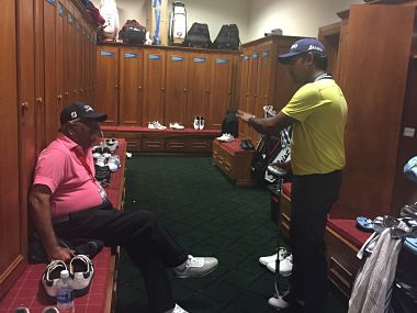 Anirban Lahiri engaged in a discussion with his coach Vijay Divecha.