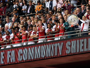 Arsenal lift the Community Shield after beating London rivals Chelsea on Sunday. Reuters