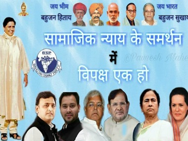 The picture showing Mayawati and prominent Opposition leaders. Twitter @sanket