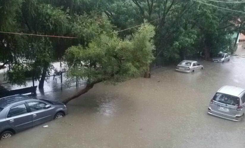 The torrential rain uprooted trees, twisted electric poles and snapped cable lines in upscale residential areas, disrupting power supply. Image courtesy: Facebook/ Priya Chetty-Rajagopal