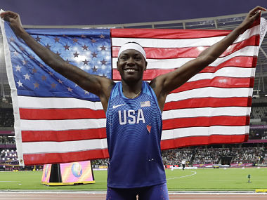 United States' gold medal winner Brittney Reese celebrates after the women's long jump final during the World Athletics Championships in London Friday, Aug. 11, 2017. (AP Photo/Matthias Schrader)