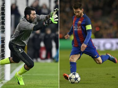 (COMBO) This combination of file pictures created on April 16, 2017 shows Juventus' Italian goalkeeper Gianluigi Buffon (L) warming up before the Italian Serie A football match between Juventus and Palermo at the Juventus Stadium in Turin on February 17, 2017 and Barcelona's Argentinian forward Lionel Messi shooting a penalty kick to score a goal during the UEFA Champions League round of 16 second leg football match FC Barcelona vs Paris Saint-Germain FC at the Camp Nou stadium in Barcelona on March 8, 2017. FC Barcelona will face Juventus during their UEFA Champions league quarter-final football match at the Nou Camp stadium in Barcelona, on April 19, 2017. / AFP PHOTO / Miguel MEDINA AND LLUIS GENE