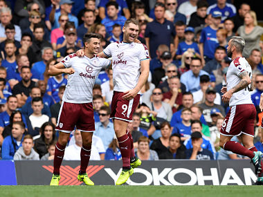 Sam Vokes was a happy man on Saturday after his twin strikes helped Burnley win against Chelsea. Reuters