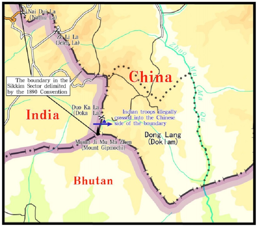 Sketch map of the site claiming Indian troops' trespass as released by Chinese ministry of foreign affairs. Image courtesy: Fmprc.gov.cn