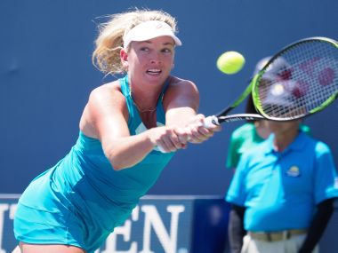 Coco Vandeweghe in action against Aja Tomljanovic during their first round. Reuters