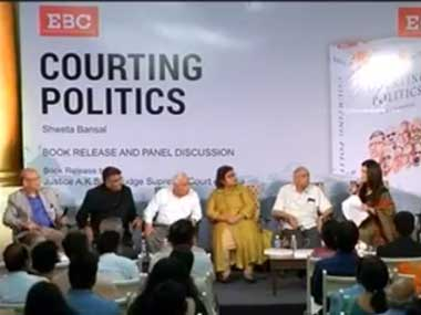 The panel at the launch of the book 'Courting Politics.' Facebook @cnbctv18india