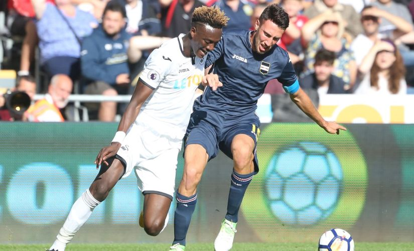 Swansea City signed Chelsea striker Tammy Abraham on a one year loan deal. Image courtesy: Twitter @SwansOfficial