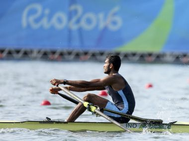 2016 Rio Olympics - Rowing - Quarterfinals - Men's Single Sculls Quarterfinals - Lagoa Stadium - Rio De Janeiro, Brazil - 09/08/2016. Dattu Baban Bhokanal (IND) of India competes. REUTERS/Gonzalo Fuentes FOR EDITORIAL USE ONLY. NOT FOR SALE FOR MARKETING OR ADVERTISING CAMPAIGNS. - RTSM1TJ