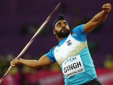 Davinder Singh Kang in action at the IAAF World Championships. Image courtesy: Twitter