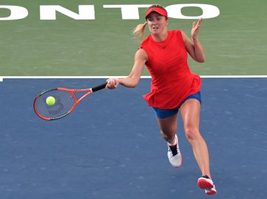 Elina Svitolina plays a shot against Simona Halip during their Rogers Cup semi-final. Reuters