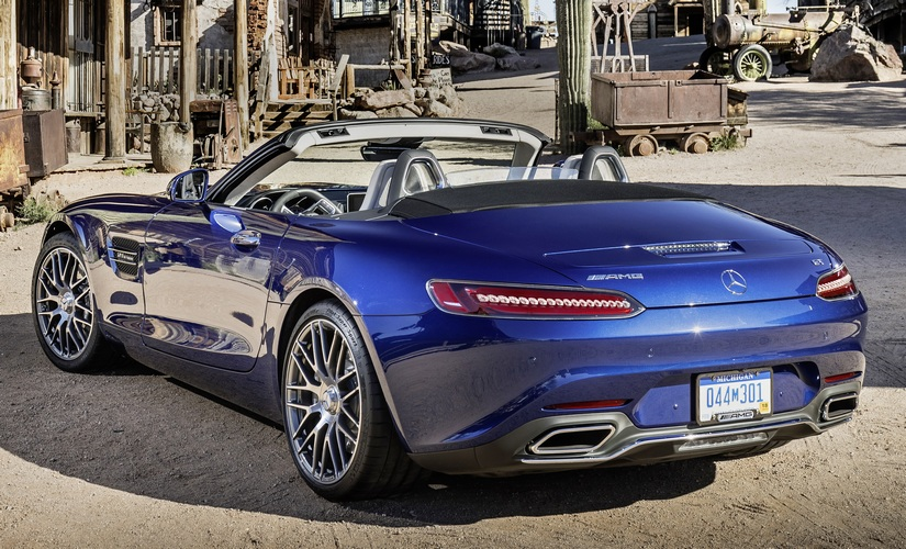 The visual appeal of the Mercedes-AMG GT Roadster lies in its fabric top, and it can be specced in three colour options - red, beige and black.