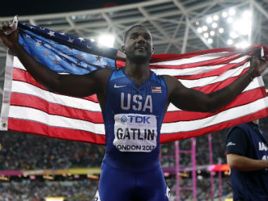 Justin Gatlin, 35, beat Bolt to gold in the 100m race at the 2017 World Championships. AP