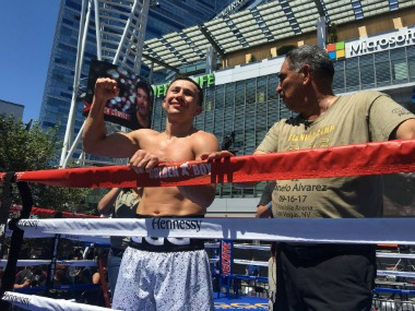Gennady Golovkin at promotional event for his boxing bout againt Canelo Alvarez. Image Courtesy: Twitter @GGGBoxing