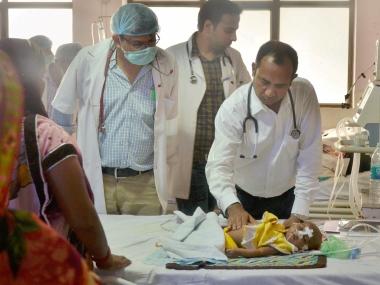 Doctor children at the BRD hospital in Gorakhpur. PTI