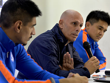 File picture of Stephen Constantine (C) and Gurpreet Singh Sandhu (L). AFP