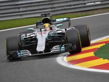 Mercedes driver Lewis Hamilton of Britain steers his car during the second practice session ahead of the Belgian Formula One Grand Prix in Spa-Francorchamps, Belgium, Friday, Aug. 25, 2017. (AP Photo/Geert Vanden Wijngaert)