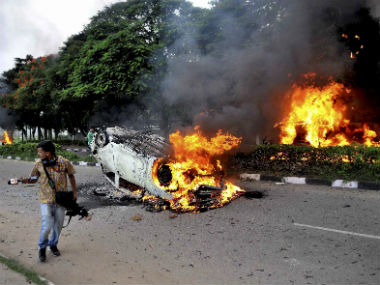 File image of violence in Haryana. PTI