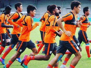 India football team train in the opening match of tri-nation tournament in Mumbai. Twitter/@IndianFootball