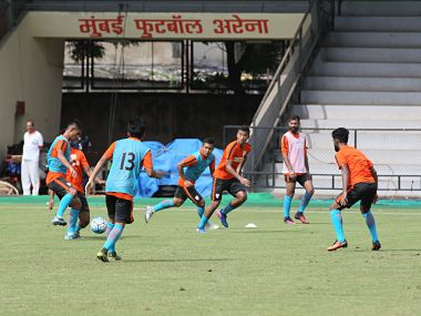 Indian football team train at the Mumbai Football Arena ahead of their Tri-nation clash against St Kivs and Nitts. Image courtesy: Twitter @IndianFootball