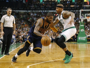 File photo of Cleveland Cavaliers' Kyrie Irving against Boston Celtics' Isaiah Thomas. Reuters
