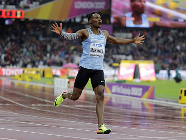 Botswana's Isaac Makwala celebrates after finishing a Men's 200m individual time trial. AP
