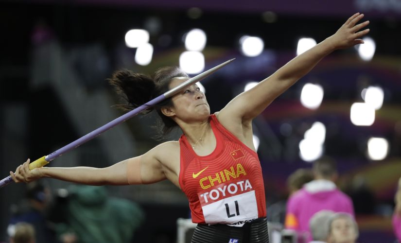 China's Li Lingwei makes an attempt in the women's javelin final during the World Athletics Championships in London. AP