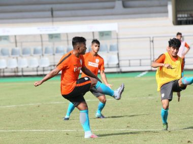 India football team train ahead of their opening match of tri-nation tournament against Mauritius in Mumbai. Image courtesy: Twitter/@IndianFootball