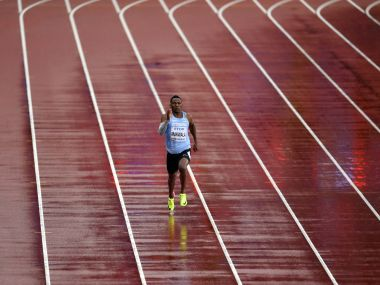 Botswana's Isaac Makwala runs a men's 200-meter individual time trial during the World Athletics Championships in London Wednesday, Aug. 9, 2017. Makwala ran to qualify for the 200m semi-finals after he missed the 200m heats and the 400m final as he was barred from competing for 48 hours while organizers tried to halt a norovirus outbreak. (AP Photo/Martin Meissner)