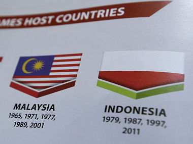 Indonesia's national flag, printed upside down on the guidebook ofSouth East Asian Games in , Malaysia. AP