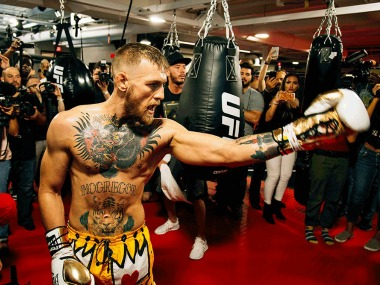 Conor McGregor in action at media workout before fight against Floyd Mayweather. Image Courtesy: Twitter @Maclifeofficial