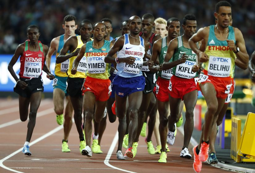 Mo Farah of Britain competes during the men's 10,000 metres. The 34-year-old Briton was tested hard in a fast race full of surges and ever-changing leads. Reuters