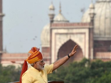 A file photo of Prime Minister Narendra Modi during Independence Day celebrations. PTI