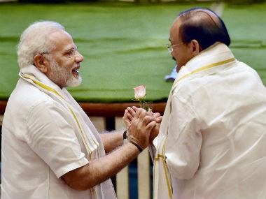 Prime Minister Narendra Modi (left) with Venkaiah Naidu. PTI