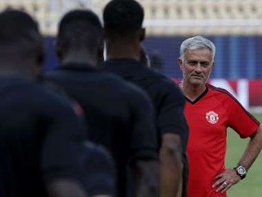 Manchester United's manager Jose Mourinho, right, looks on during a training session at Philip II Arena in Skopje, Macedonia, Monday, Aug. 7, 2017, a day ahead of UEFA Super Cup final soccer match with Real Madrid. (AP Photo/Boris Grdanoski)